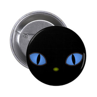 Black Cat With Big Blue Eyes 2 Inch Round Button