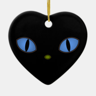 Black Cat With Big Blue Eyes Ceramic Ornament