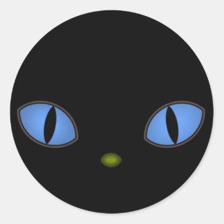 Black Cat With Big Blue Eyes Classic Round Sticker
