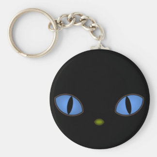 Black Cat With Big Blue Eyes Key Chain