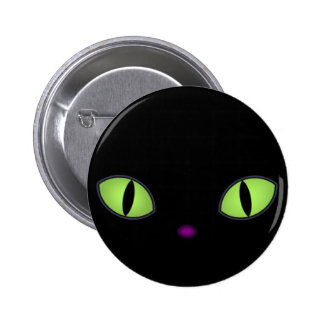 Black Cat With Big Green Eyes 2 Inch Round Button