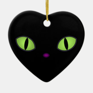 Black Cat With Big Green Eyes Ceramic Ornament