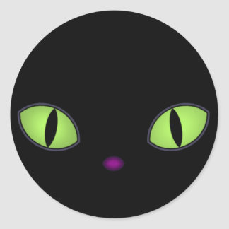 Black Cat With Big Green Eyes Classic Round Sticker