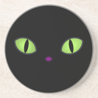 Black Cat With Big Green Eyes Coaster