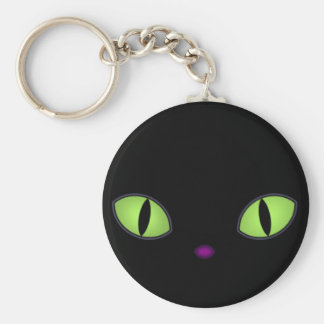 Black Cat With Big Green Eyes Key Chains
