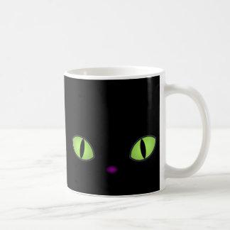 Black Cat With Big Green Eyes Coffee Mug