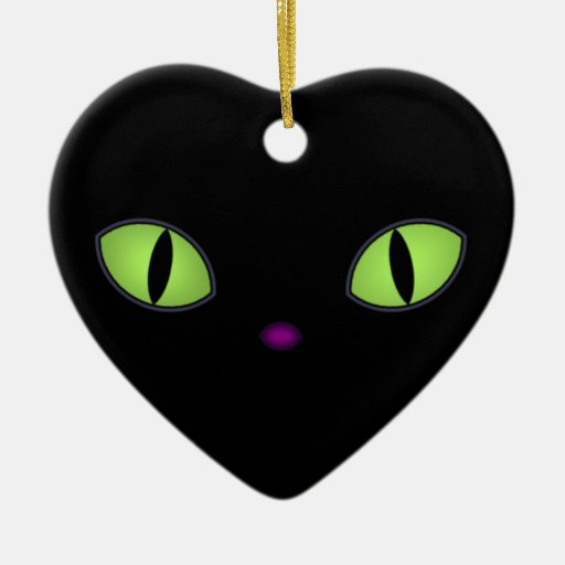 Black Cat With Big Green Eyes Christmas Tree Ornaments
