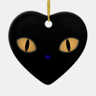 Black Cat With Big Orange Eyes Ceramic Ornament