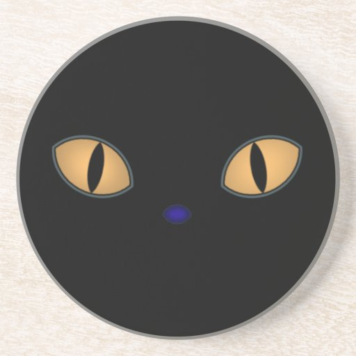 Black Cat With Big Orange Eyes Drink Coaster
