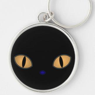 Black Cat With Big Orange Eyes Key Chains