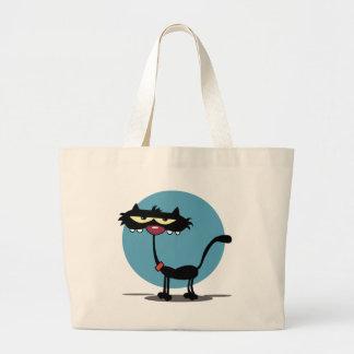 Black Cat with Blue Circle Bag