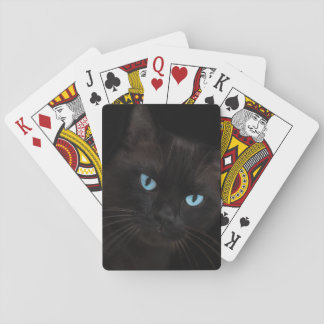 Black cat with blue eyes card deck