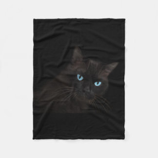 Black cat with blue eyes fleece blanket