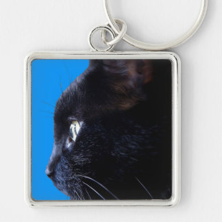 BLACK CAT with Blue Sky ~ Silver-Colored Square Keychain