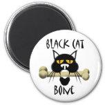 Black Cat With Bone Fridge Magnets