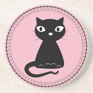 Black Cat with Curled Tail Drink Coaster