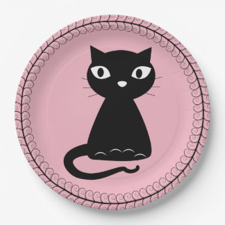 Black Cat with Curled Tail Paper Plate
