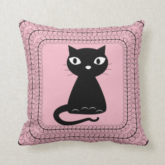 Black Cat with Curled Tail Throw Pillow