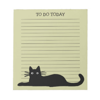 Black Cat with Customizable Text Notepad