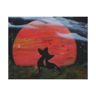 Black Cat with Fall Full Moon Halloween Canvas Print
