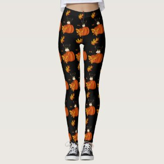 Black Cat with Fall Leaves and Harvest Pumpkins Leggings