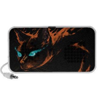 Black Cat With Flames Doodle Speaker