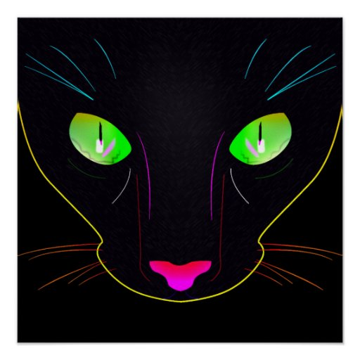Black Cat with Fluorescent colors. Print