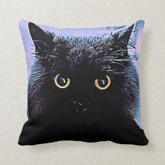 Black Cat with Glowing Golden Eyes Pillow