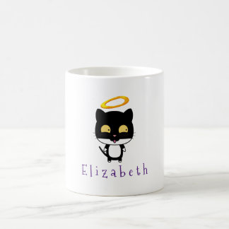 Black Cat With Golden Halo Cute Angel Personalized Coffee Mug