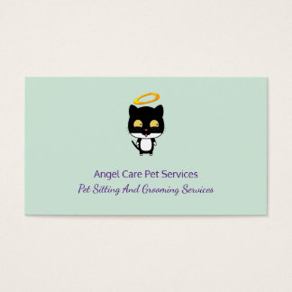 Black Cat With Golden Halo Cute Angel Pet Care Business Card