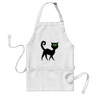 Black Cat with Green Eyes Adult Apron
