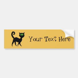 Black Cat with Green Eyes Bumper Sticker