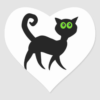 Black Cat with Green Eyes Heart Sticker