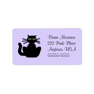 Black Cat with Green Eyes Lavender Background Label