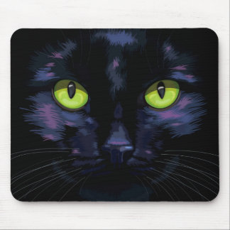 Black cat with green eyes mouse pad