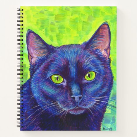 Black Cat with Green Eyes Spiral Notebook