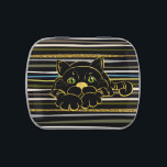 """Black Cat with Green Glitter eyes and gold outline Jelly Belly Tin<br><div class=""""desc"""">Black Cat with Green Glitter eyes and gold outline</div>"""