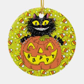 Black Cat with Jack O' Lantern in Green Ceramic Ornament