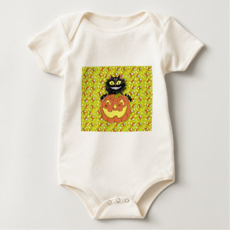 Black Cat with Jack O' Lantern in Lime Baby Bodysuit