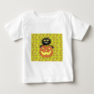 Black Cat with Jack O' Lantern in Lime Baby T-Shirt