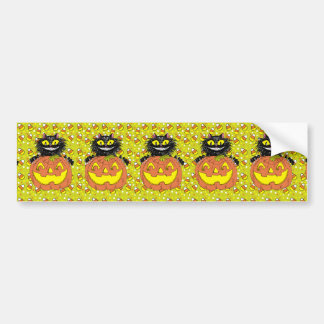 Black Cat with Jack O' Lantern in Lime Bumper Sticker