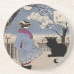 Black Cat With Japanese Lady Drink Coaster