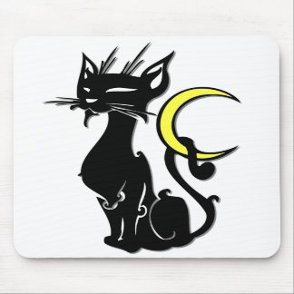 Black Cat with Moon Mousepad