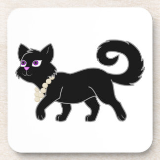 Black Cat with Pearl Necklace Beverage Coasters