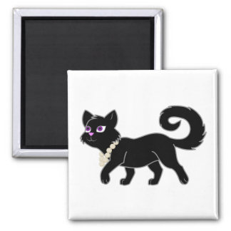 Black Cat with Pearl Necklace Magnet