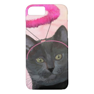 Black Cat With Pink Angel Halo iPhone 8/7 Case