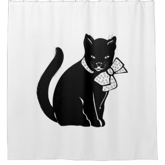 Black Cat With Polka Dot Bow Shower Curtain