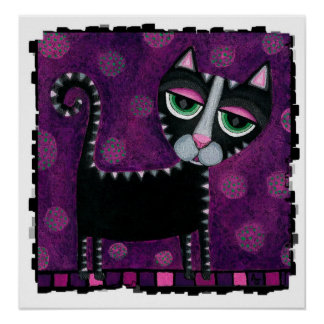 Black Cat with Polka Dots - funky print