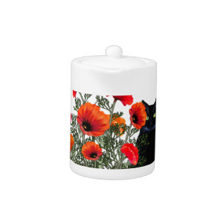 Black Cat With Poppies Teapot at Zazzle