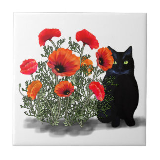 Black Cat with Poppies Tile